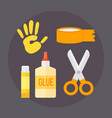 themed kids creativity creation scissors symbols vector image