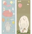 cute polar bear hares and girl vector image