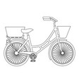antique bicycle with basket vector image vector image