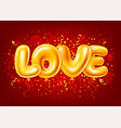 balloons letters love on red festive background vector image