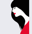 beautiful woman with long hair and red dress vector image