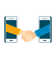 business investor transaction handshake with smart vector image