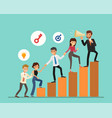 business people cartoon climbing up on graph vector image