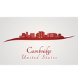 Cambridge skyline in red vector image vector image
