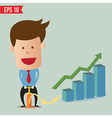 Cartoon Business man pumping graph - - EPS10 vector image vector image