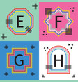colorful capital letters e f g and h line emblems vector image vector image