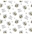 cute bees pattern vector image vector image