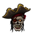 Danger pirate skull in red bandanna vector image