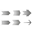 dots arrow icon set halftone arrows vector image