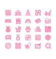 early development baby toys flat line icons play vector image vector image