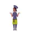 female chef cook holding trays with fresh sushi vector image vector image