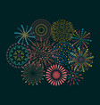 firework icon set with petard stars festival and vector image vector image