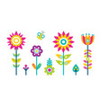 flowers collection flat style design abstract tree