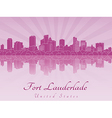 Fort Lauderlade skyline in purple radiant orchid vector image vector image