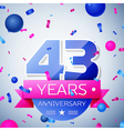 Forty three years anniversary celebration on grey vector image vector image