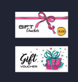 gift voucher card with ribbon pink vector image vector image
