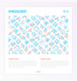 gynecologist concept with thin line icons vector image