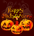 Halloween card with pumpkins vector image vector image