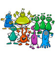 happy aliens fantasy characters group vector image vector image