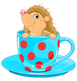 Hedgehog in the tea cup vector image vector image