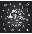 Merry Christmas and Happy New Year chalk hand vector image vector image