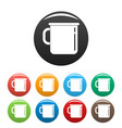 metal cup icons set color vector image