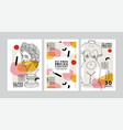 modern abstract cards with ancient sculptures set vector image vector image