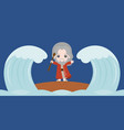 moses dividing the red sea in two parts vector image