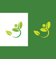 people green leaf nature logo vector image