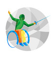 physically disabled fencer with abstract patterns vector image vector image