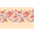 Poppy flowers and birds horizontal seamless vector image