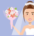 portrait bride with flowers with wedding dress vector image