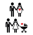 Pregnant bride icon bride with pram vector image