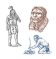 primitive people prehistoric period ancient vector image vector image