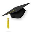 realistic graduation cap hang on the corner vector image vector image