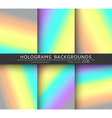 Set 6 realistic holographic backgrounds in vector image vector image