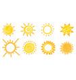 set doodle sun design elements vector image