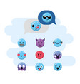 set kawaii emoji emotion design icon vector image