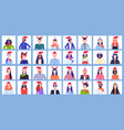 set mix race people wearing santa hats and horns vector image vector image
