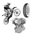 set motorcycle drawing vector image