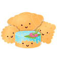 set of cute cookies and cakes vector image