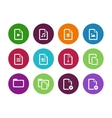 Set of Files circle icons on white background vector image