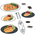 set of fried fish vector image