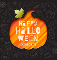 silhouette a pumpkin cutout in paper vector image vector image