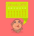so cute monkey brown cartoon with colors calendar vector image vector image