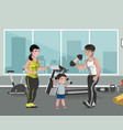 sports family flat template in gym vector image vector image