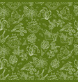 spring thin line seamless pattern with vector image