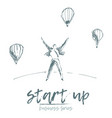 start up businessman flying air balloons vector image