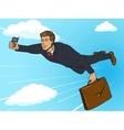 Super hero businessman flying sky pop art vector image