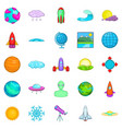 system icons set cartoon style vector image vector image